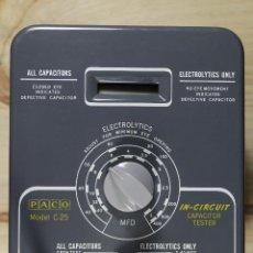 Antigüedades: PACO MODEL C-25 IN-CIRCUIT CAPACITOR TESTER (PROBADOR DE CONDENSADORES). Lote 208385612