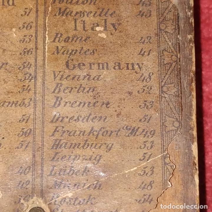 Antigüedades: BRÚJULA RELOJ DE SOL PORTÁTIL. MADERA, CRISTAL, PAPEL. INGLATERRA (?) XVIII-XIX - Foto 9 - 240224565