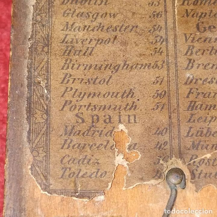 Antigüedades: BRÚJULA RELOJ DE SOL PORTÁTIL. MADERA, CRISTAL, PAPEL. INGLATERRA (?) XVIII-XIX - Foto 10 - 240224565