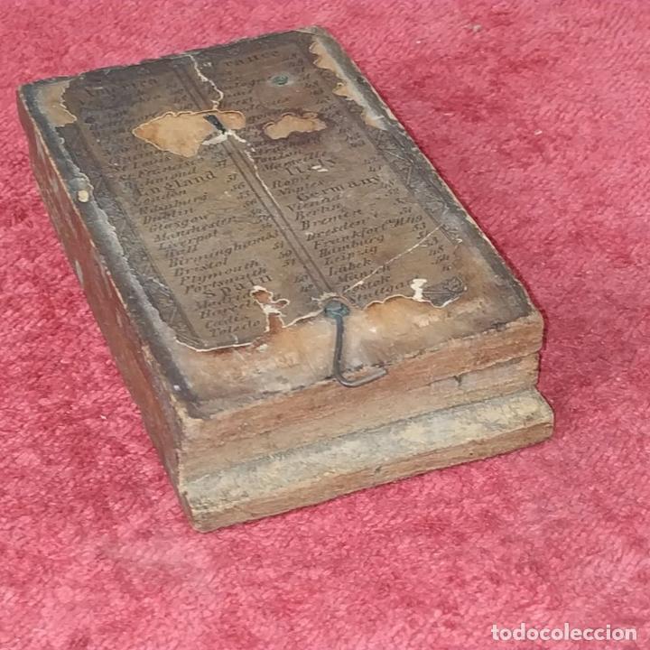 Antigüedades: BRÚJULA RELOJ DE SOL PORTÁTIL. MADERA, CRISTAL, PAPEL. INGLATERRA (?) XVIII-XIX - Foto 12 - 240224565