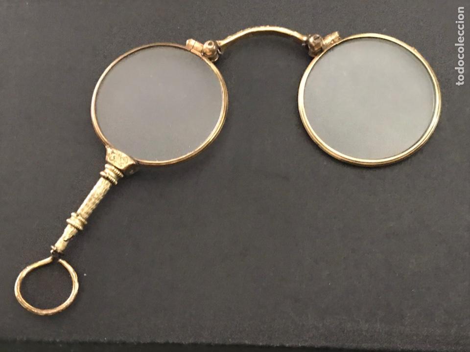 ANTIGUOS IMPERTINENTES CHAPANDO EN ORO (Antigüedades - Técnicas - Instrumentos Ópticos - Binoculares Antiguos)