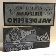 Antigüedades: FANTÁSTICO LOTE DE 2 ANTIGUOS GRABADOS DE IMPRENTA PUBLICIDAD DE VALDESPINO. Lote 240250460