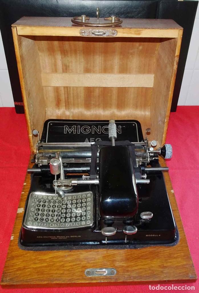 MÁQUINA DE ESCRIBIR MIGNON Nº 4, C1925, CON ESTUCHE DE MADERA (Antigüedades - Técnicas - Máquinas de Escribir Antiguas - Mignon)