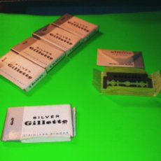 Antigüedades: ANTIGUAS 5 CAJAS HOJAS DE AFEITAR SILVER GILLETTE. NUEVAS A ESTRENAR. PERFECTAS. DESCRIPCION Y FOT. Lote 241187955