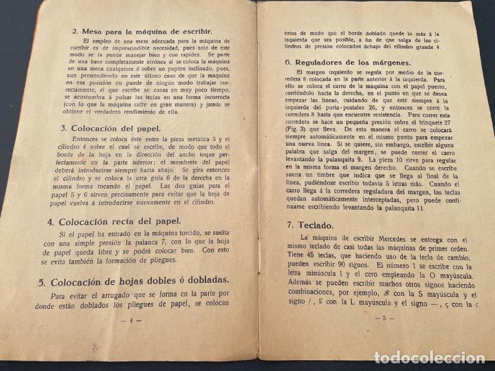 Antigüedades: MANUAL INSTRUCCIONES MAQUINA DE ESCRIBIR MERCEDES - Foto 6 - 241293635