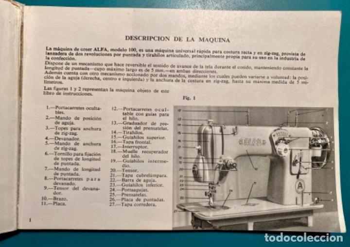 Antigüedades: LIBRITO INSTRUCCIONES PARA SU USO DE LA MÁQUINA DE COSER ALFA, MODELO 100 AÑO 1967 - Foto 4 - 241953640