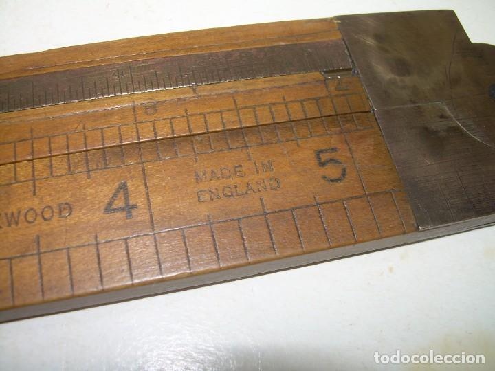 Antigüedades: ANTIGUO PIE DE REY DE MADERA NOBLE Y BRONCE.LUFKIN - ENGLAND. - Foto 3 - 242115390