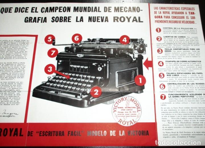 CATÁLOGO DESPLEGABLE DE LA MÁQUINA DE ESCRIBIR ROYAL VICTORIA. CAMPEONATO MECANOGRAFÍA DE 1935. (Antigüedades - Técnicas - Máquinas de Escribir Antiguas - Royal)