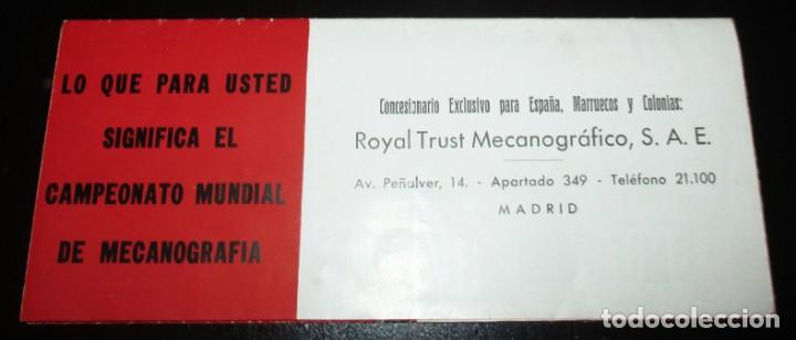 Antigüedades: CATÁLOGO DESPLEGABLE DE LA MÁQUINA DE ESCRIBIR ROYAL VICTORIA. CAMPEONATO MECANOGRAFÍA DE 1935. - Foto 2 - 242202535