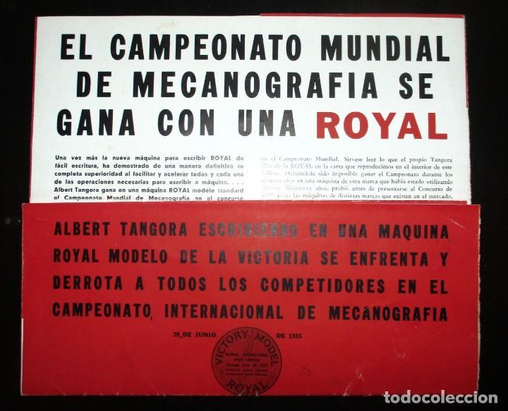 Antigüedades: CATÁLOGO DESPLEGABLE DE LA MÁQUINA DE ESCRIBIR ROYAL VICTORIA. CAMPEONATO MECANOGRAFÍA DE 1935. - Foto 3 - 242202535