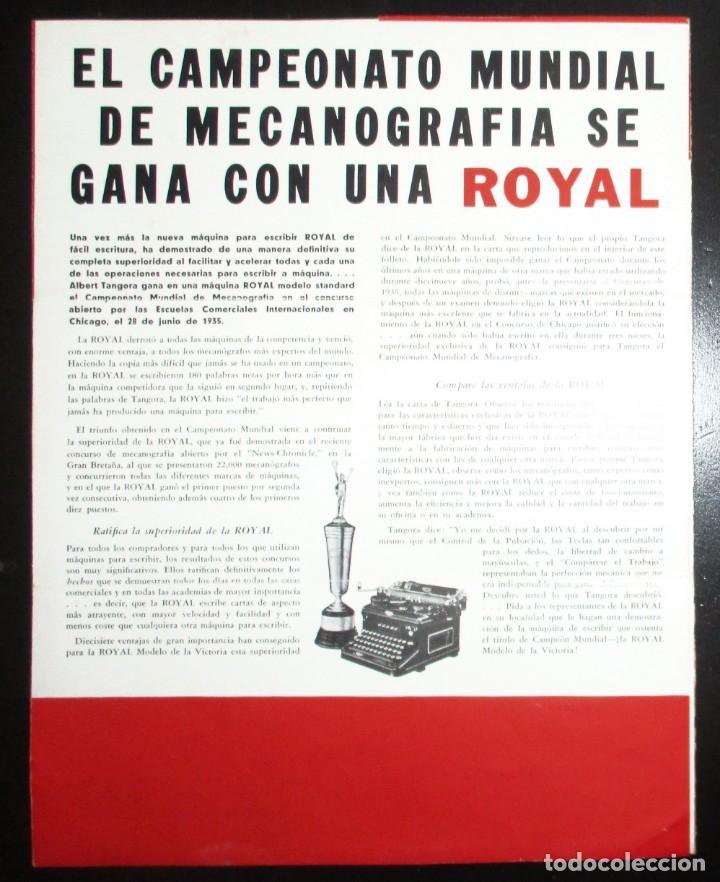 Antigüedades: CATÁLOGO DESPLEGABLE DE LA MÁQUINA DE ESCRIBIR ROYAL VICTORIA. CAMPEONATO MECANOGRAFÍA DE 1935. - Foto 4 - 242202535