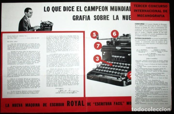 Antigüedades: CATÁLOGO DESPLEGABLE DE LA MÁQUINA DE ESCRIBIR ROYAL VICTORIA. CAMPEONATO MECANOGRAFÍA DE 1935. - Foto 5 - 242202535
