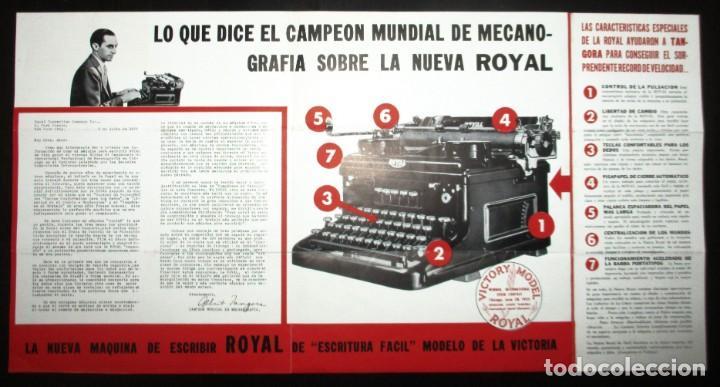 Antigüedades: CATÁLOGO DESPLEGABLE DE LA MÁQUINA DE ESCRIBIR ROYAL VICTORIA. CAMPEONATO MECANOGRAFÍA DE 1935. - Foto 6 - 242202535