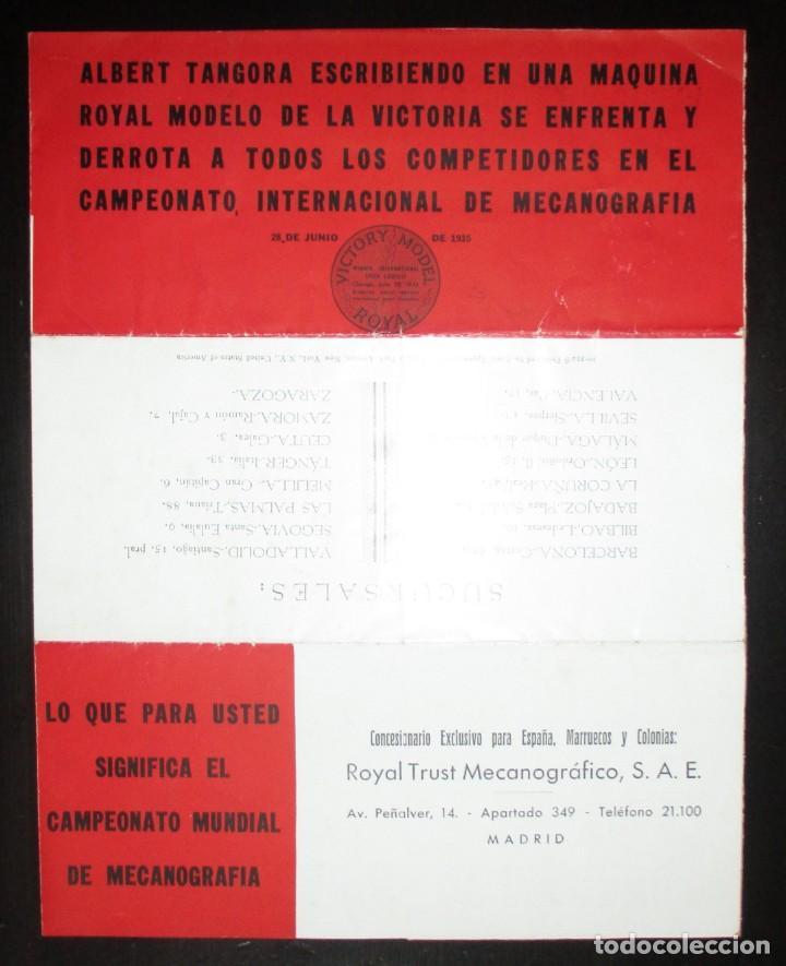 Antigüedades: CATÁLOGO DESPLEGABLE DE LA MÁQUINA DE ESCRIBIR ROYAL VICTORIA. CAMPEONATO MECANOGRAFÍA DE 1935. - Foto 7 - 242202535