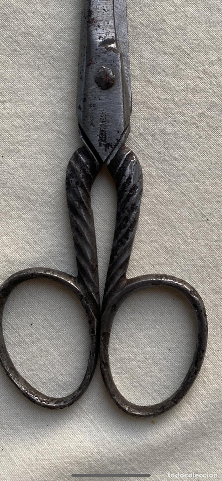 Antigüedades: Antigua tijera alemana Tijeras costura acero mango sogueado s xix 20/15 - Foto 2 - 242365070