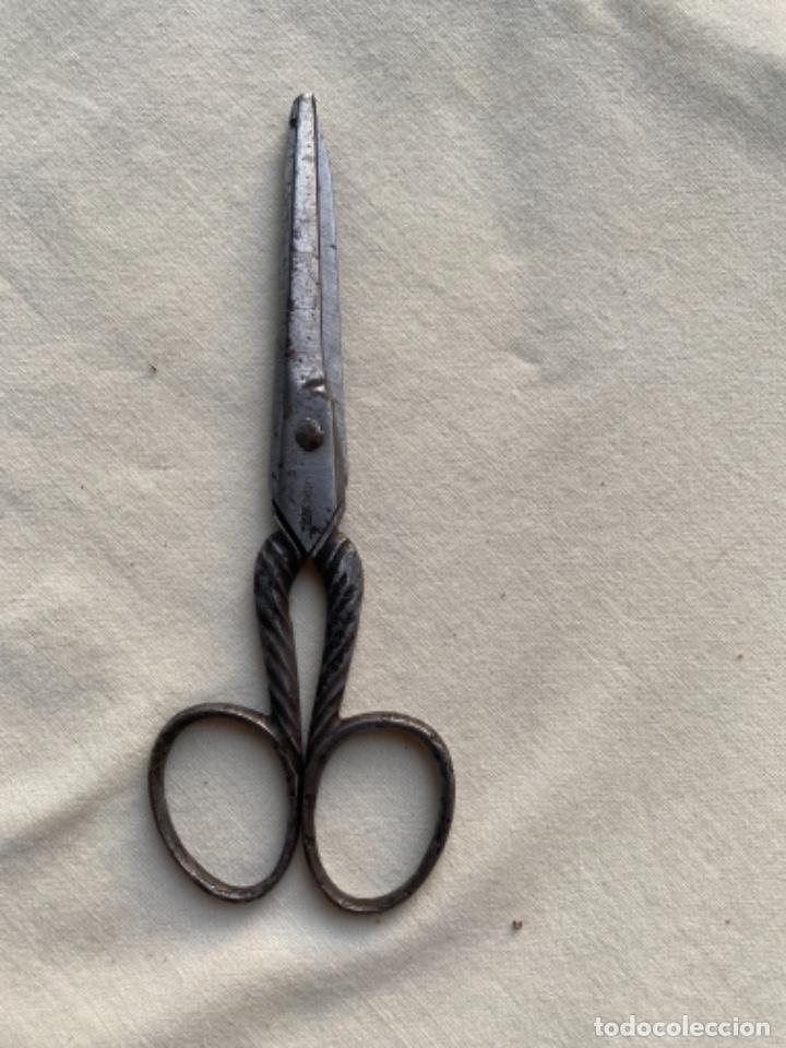 Antigüedades: Antigua tijera alemana Tijeras costura acero mango sogueado s xix 20/15 - Foto 7 - 242365070