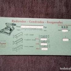 Antigüedades: REGLILLA PESO DE LOS HIERROS PLANOS EDITORIAL VAGMA. Lote 243035765