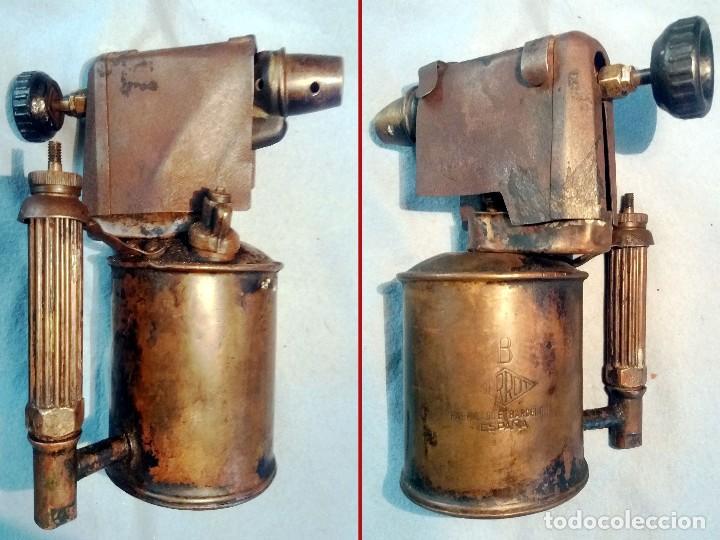 ANTIGUO SOPLETE DE METAL LATON Y HIERRO MARCA SERROT BARCELONA TIPO B.AÑOS 1940-50 (Antigüedades - Técnicas - Herramientas Profesionales - Mecánica)