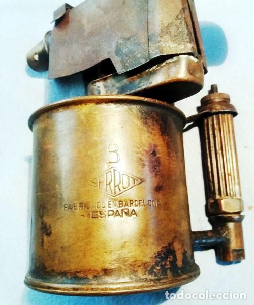 Antigüedades: ANTIGUO SOPLETE DE METAL LATON Y HIERRO MARCA SERROT BARCELONA tipo B.Años 1940-50 - Foto 2 - 243262465