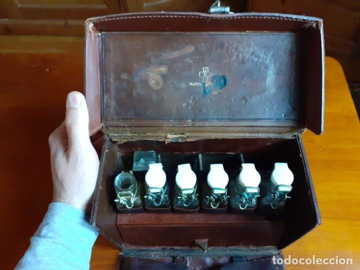 Antigüedades: Antiguo maletín de piel de médico francés - Foto 2 - 243604485