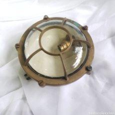 Antigüedades: OJO DE BUEY EN BRONCE LAMPARA PLAFON DE BARCO MILETCICH. Lote 243620365