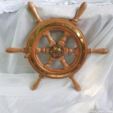 Antigüedades: PRECIOSO TIMON ORIGINAL DE MADERA Y BRONCE PARA BARCO 61 CM DIAMETRO MAXIMO. Lote 243621720