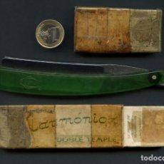 Antigüedades: NAVAJA DE AFEITAR, FILARMÓNICA 14 DOBLE TEMPLE, JOSÉ MONSERRAT POU. Lote 243777245