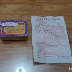 Antigüedades: CAJA CON PASTILLAS SELLOS TANAGEL ALMERIA FRANCISCO DURBAN MEDICINA MEDICAMENTO LABORATORIO. Lote 243798720