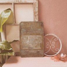 Antigüedades: ENORME PLACA DE IMPRENTA ANTIGUA ANTIQUE UNIQUE. Lote 243971535