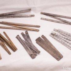 Antigüedades: LOTE REGLAS PLEGABLES METAL. Lote 244180975