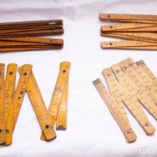 Antigüedades: LOTE REGLAS PLEGABLES DE MADERA. Lote 244182200