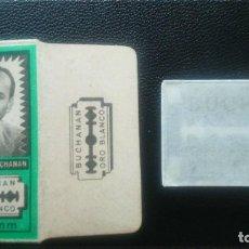 Antigüedades: HOJA DE AFEITAR - CUCHILLA DE AFEITAR - BUCHANAN ORO BLANCO - NUEVA CON SU HOJA. Lote 244989020