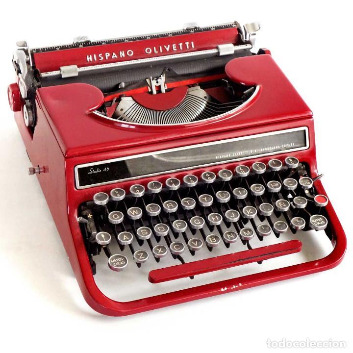 MUY RARA HISPANO OLIVETTI STUDIO 46 BURDEOS. MAQUINA ESCRIBIR AÑOS 50 (Antigüedades - Técnicas - Máquinas de Escribir Antiguas - Olivetti)