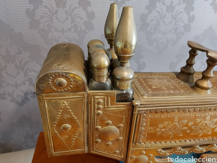 Antigüedades: Antiguo limpia botas turco gran tamaño 82 cm limpia zapatos latón y cobre repujado limpiabotas - Foto 4 - 245220655