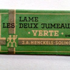 Antigüedades: HOJA DE AFEITAR ANTIGUA,HENCKELS-SOLINGEN,LES DEUX JUMEAUX-VERTE.. Lote 245363795