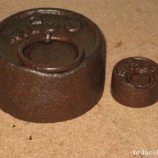 Antigüedades: LOTE DE 2 PONDERALES, PESAS DE 2 KILO Y 200GR.. Lote 245443910