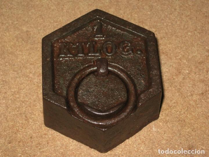 Antigüedades: Lote de 2 ponderales, pesas de 1 kilo y medio kilo. - Foto 3 - 245473755