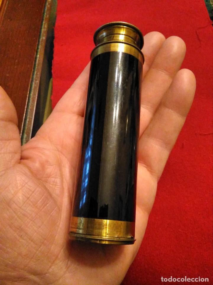 Antigüedades: CATALEJO TELESCOPIO CAMPAÑA ANTIGUO MILITAR - Foto 8 - 246139770