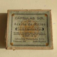 Antigüedades: CAJA CARTÓN CÁPSULAS SOL DE ACEITE DE RICINO. CONTIENE 3 CÁPSULAS. CON PROSPECTO. Lote 246187565