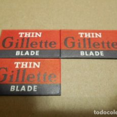 Antigüedades: 3 HOJAS THIN GILLETTE BLADE , MADE IN ENGLAND. Lote 246422370