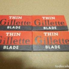 Antigüedades: 4 HOJAS THIN GILLETTE BLADE , REGISTERED TRADE MARK. Lote 246422595
