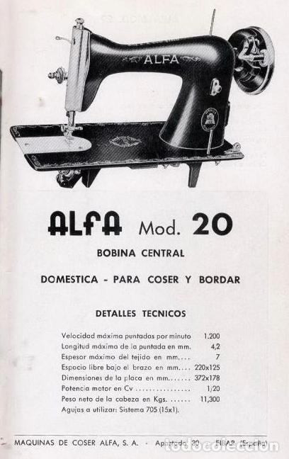Antigüedades: Máquina de coser Alfa, modelo A o 20 - Fabricada en Éibar años 50 - Foto 28 - 246434545