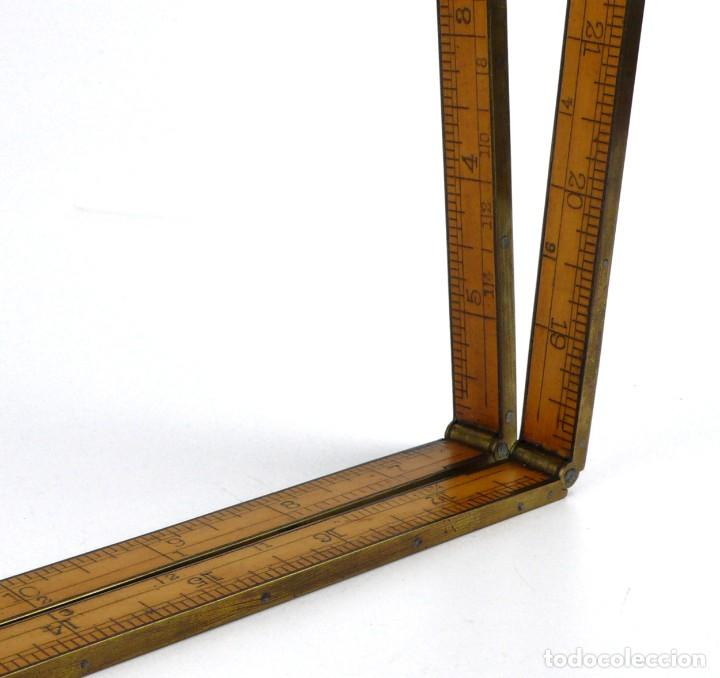 Antigüedades: The C-S.Co, Connecticut USA- Regla plegable de madera y latón -Siglo XIX - Foto 3 - 247092235