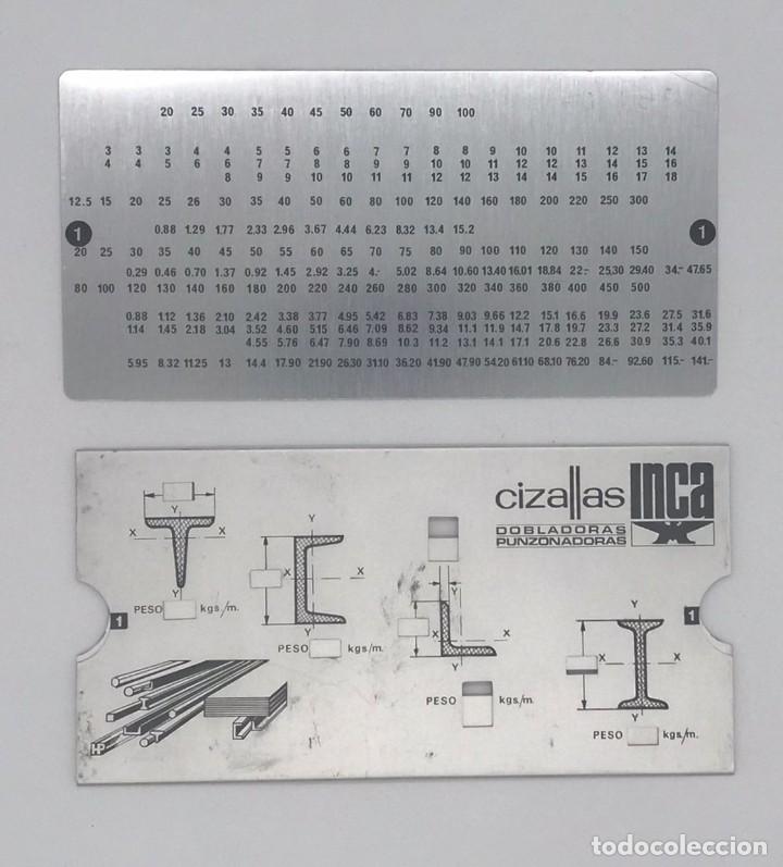 ANTIGUA REGLA CALCULADORA DE ALUMINIO DE CIZALLAS INCA (Antigüedades - Técnicas - Aparatos de Cálculo - Reglas de Cálculo Antiguas)