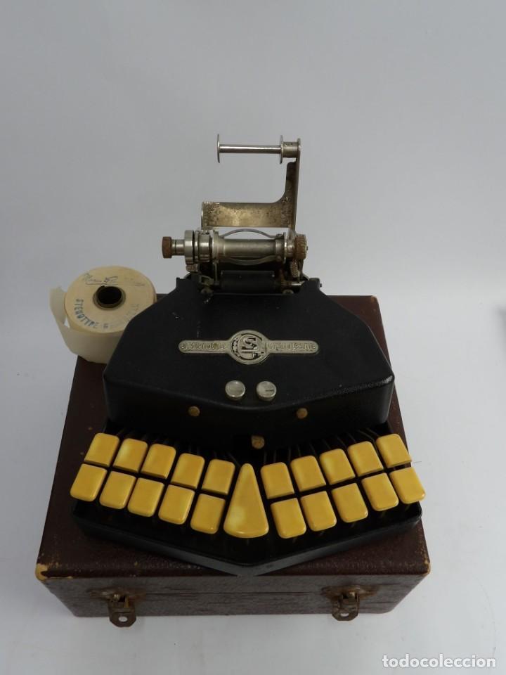 Antigüedades: Máquinade escribir Steonotipe marca GRANDJEAN, fafricada en Francia el años 40/50 y número 19252. Co - Foto 4 - 248708205