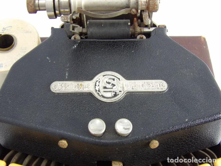 Antigüedades: Máquinade escribir Steonotipe marca GRANDJEAN, fafricada en Francia el años 40/50 y número 19252. Co - Foto 7 - 248708205