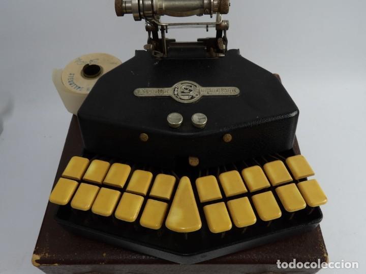 Antigüedades: Máquinade escribir Steonotipe marca GRANDJEAN, fafricada en Francia el años 40/50 y número 19252. Co - Foto 8 - 248708205