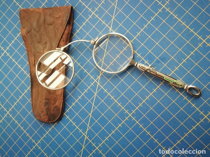 ANTEOJOS PLEGABLES CON MONTURA DE PLATA Y ESTUCHE DE PIEL (Antigüedades - Técnicas - Instrumentos Ópticos - Binoculares Antiguos)