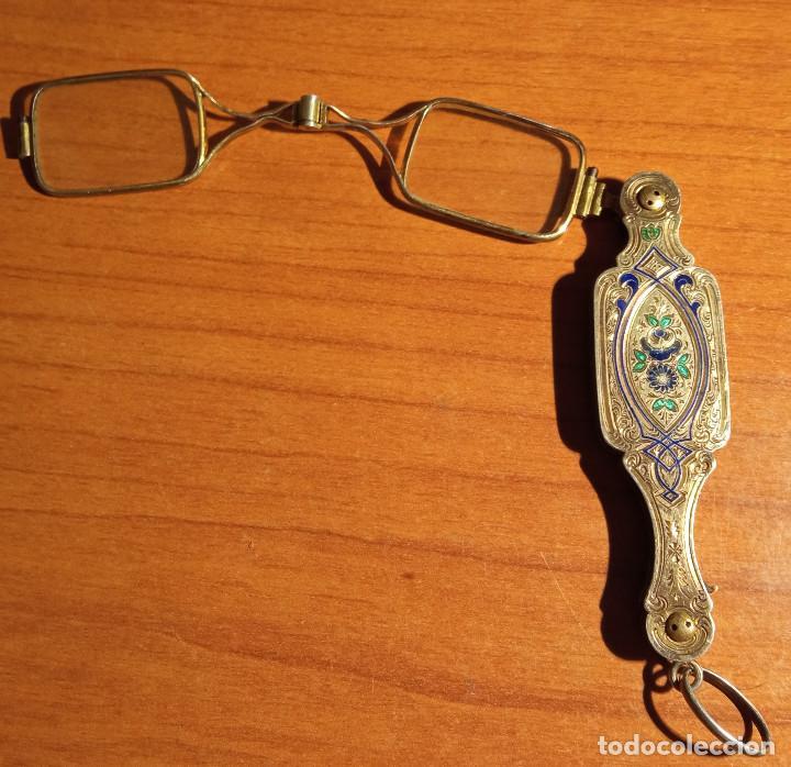 Antigüedades: Gafas plegables en plata y esmaltes siglo XIX - Foto 4 - 249329550