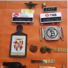 Antigüedades: LOTE INSIGNIA TRANVIAS BARCELONA URBAS URBANIZACIONES Y TRANSPORTES EMT MADRID ZARAGOZA UNICA. Lote 249367145